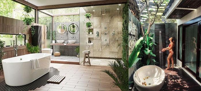 Mẫu phòng tắm ngoài trời cho thiết kế resort v1
